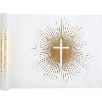 Chemin de table Communion croix blanc et or métallique 5m (x1) REF/6846