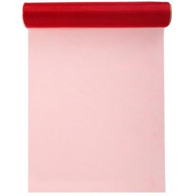 Chemin de table cristal organdi rouge 28cm x 5m (x1) REF/70232