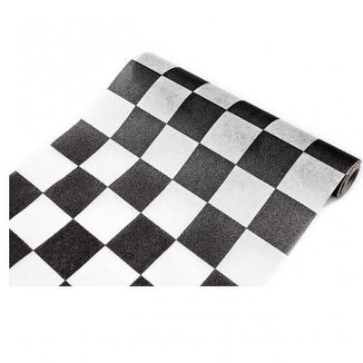 Chemin de table damier noir et blanc 27cm x 5m (x1) REF/INT462