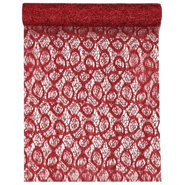 Chemin de table dentelle rouge metallique