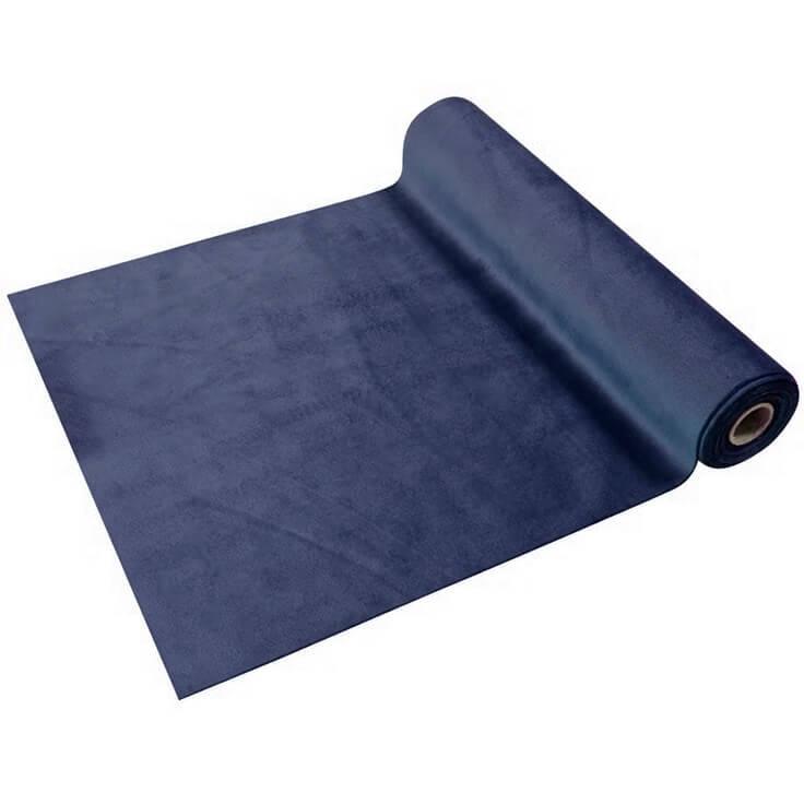 Chemin de table elegant en velours bleu marine