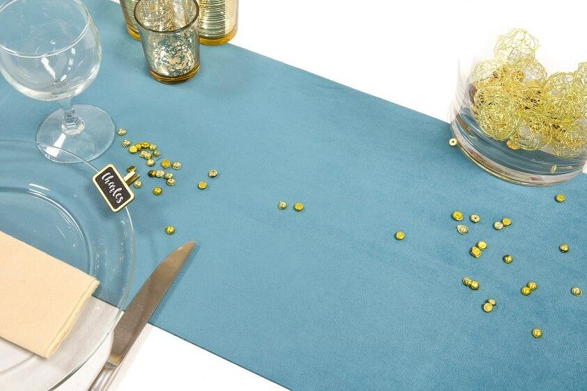 Chemin de table elegant velours bleu canard
