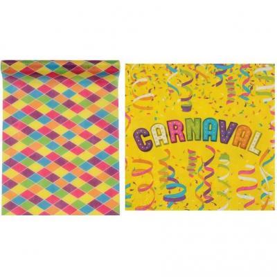 1 Pack fête Carnaval avec 1 chemin de table et 20 serviettes multicolores et festifs.
