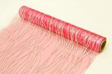 Chemin de table cheveux d'ange: Fuchsia et argent (x1) REF/ORG405