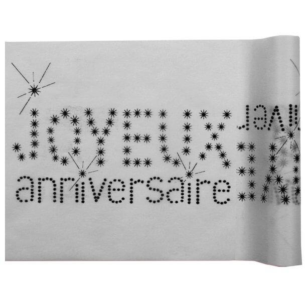 Chemin de table gris joyeux anniversaire