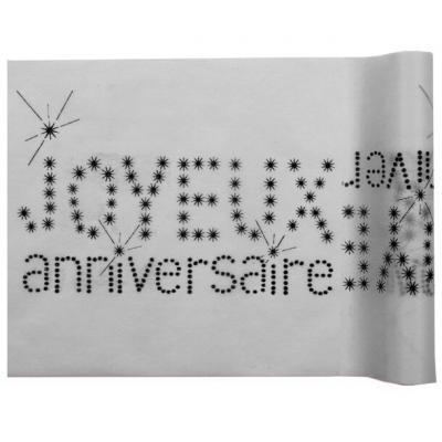 Chemin de table anniversaire gris (x1) REF/4008
