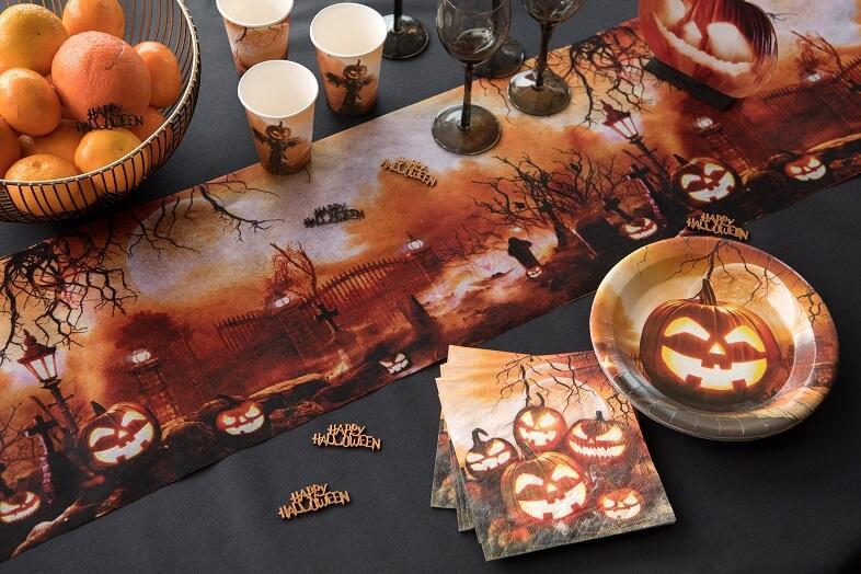 Chemin de table halloween cimetiere citrouille