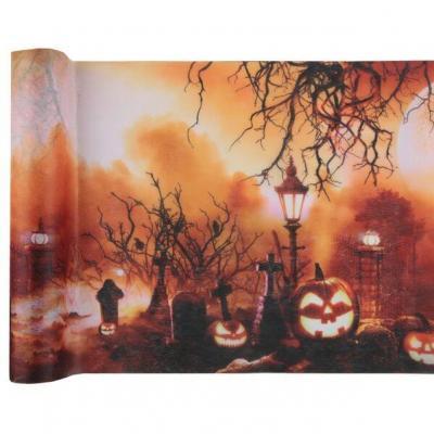 Chemin de table Halloween cimetière et citrouilles 30cm x 5m (x1) REF/7412