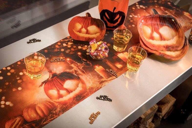 Chemin de table halloween lumineux citrouille