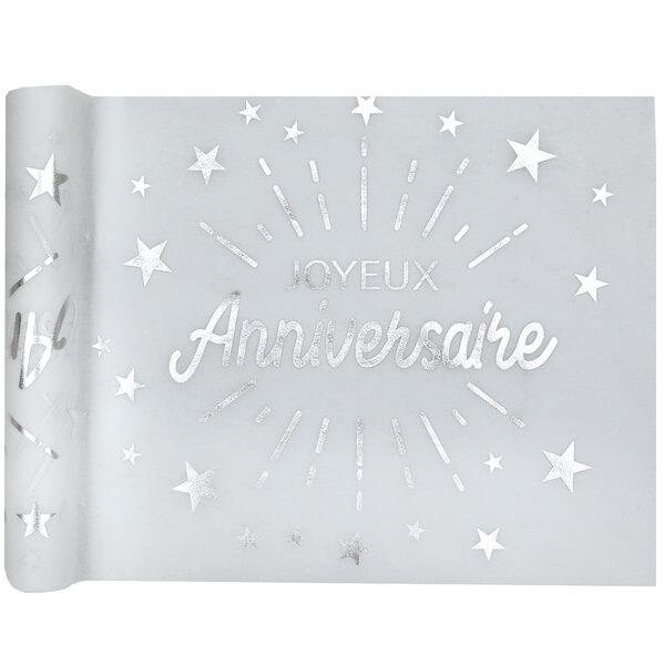 Chemin de table joyeux anniversaire blanc et argent metallique