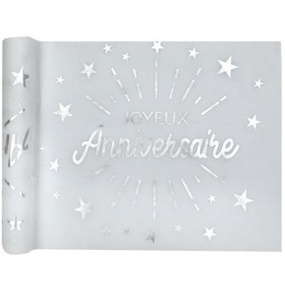 Chemin de table joyeux anniversaire blanc et argent métallique 5m (x1) REF/6646