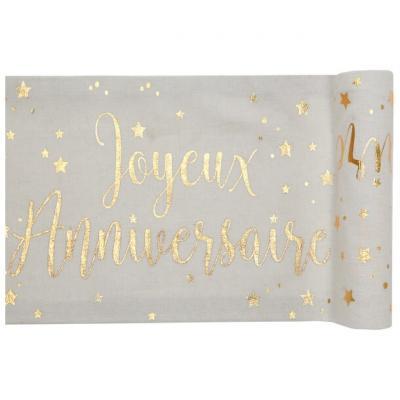 Chemin de table joyeux anniversaire blanc et or métallique (x1) REF/5668