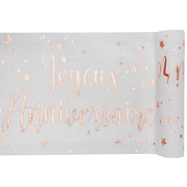 Chemin de table joyeux anniversaire blanc et rose gold metallique