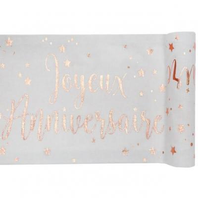 Chemin de table joyeux anniversaire blanc et rose gold métallique (x1) REF/5668