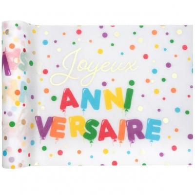 Chemin de table Joyeux Anniversaire multicolore 30cm x 5m (x1) REF/7223
