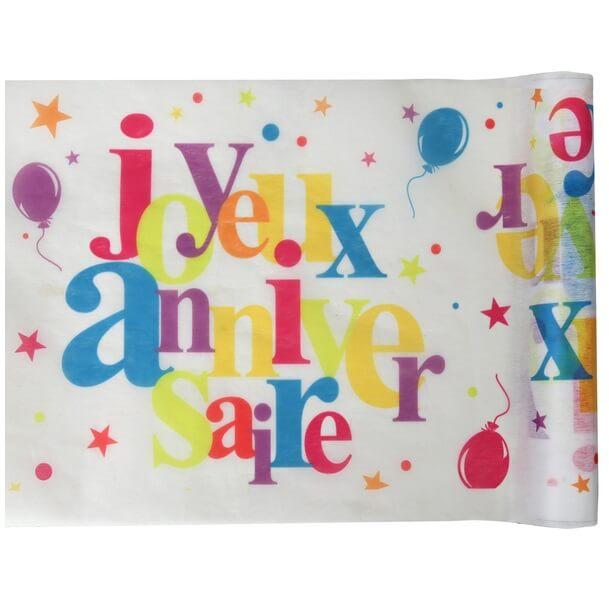 Chemin de table joyeux anniversaire multicolore