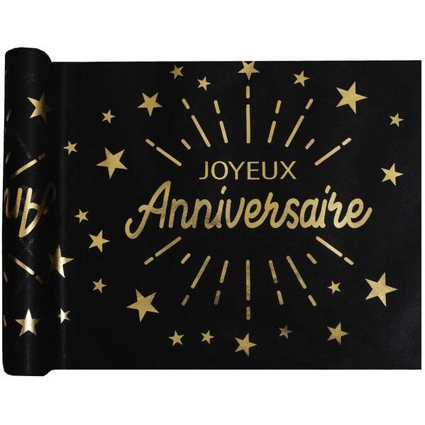 Chemin de table joyeux anniversaire noir et or metallique