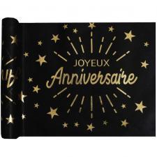 Chemin de table joyeux anniversaire noir et or métallique 5m (x1) REF/6646