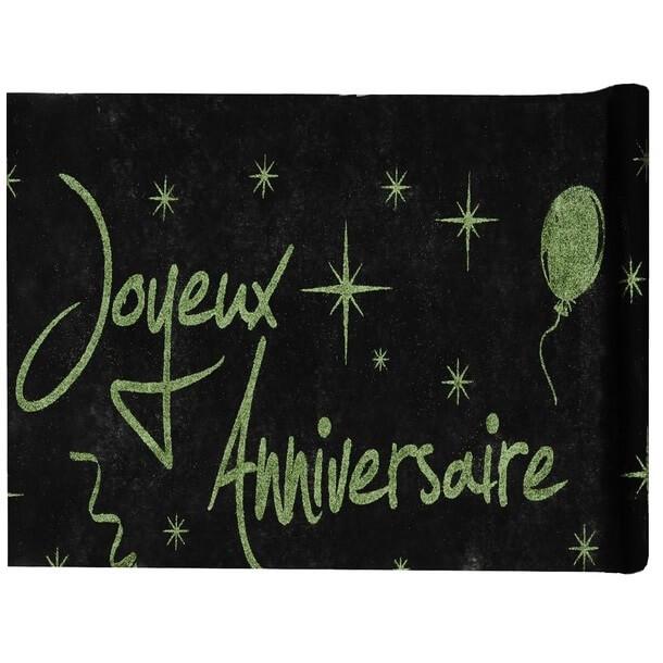 Chemin de table joyeux anniversaire vert et noir