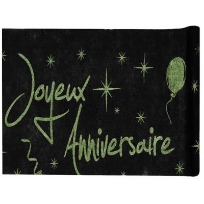 Chemin de table anniversaire noir et vert (x1) REF/4701