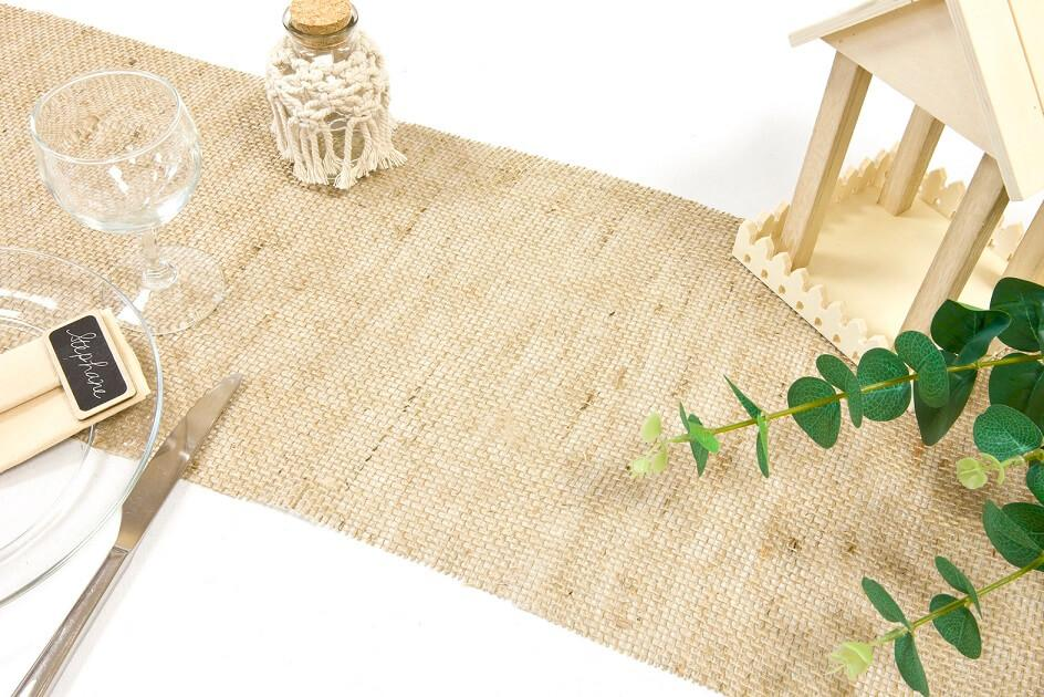 Chemin de table jute naturel avec tissage large