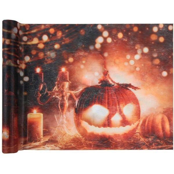 Chemin de table lumineux halloween citrouille