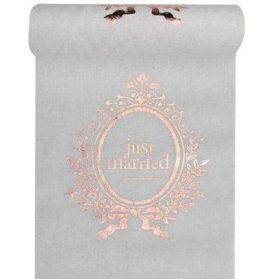 Chemin de table mariage Just Married blanc et rose gold métallique (x1) REF/6899