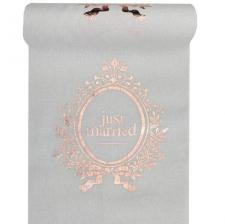 Chemin de table mariage just married blanc et rose gold metallique
