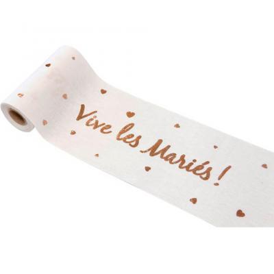 Chemin de table mariage rose gold et blanc 14cm x 4m (x1) REF/RU419