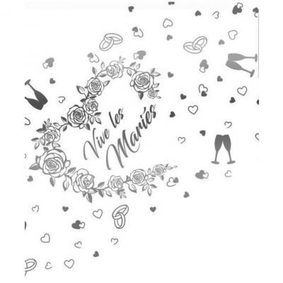 Chemin de table mariage vive les mariés transparent et argenté métallisé 28cm x 5m (x1) REF/CHTA11MA