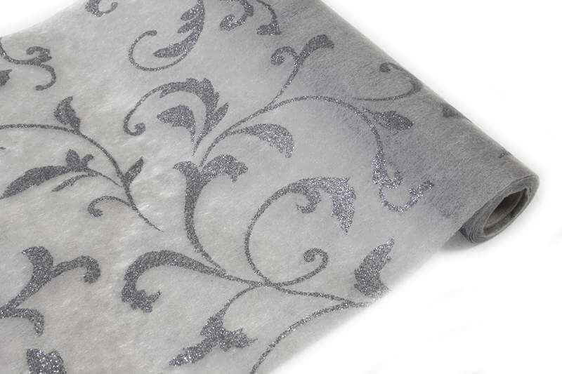 Chemin de table metallise gris