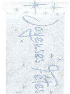 Chemin de table joyeuses fêtes: Blanc (x1) REF/4520