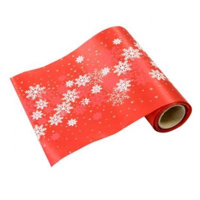 Chemin de table noël flocon rouge 14cm x 4m (x1) REF/RU406