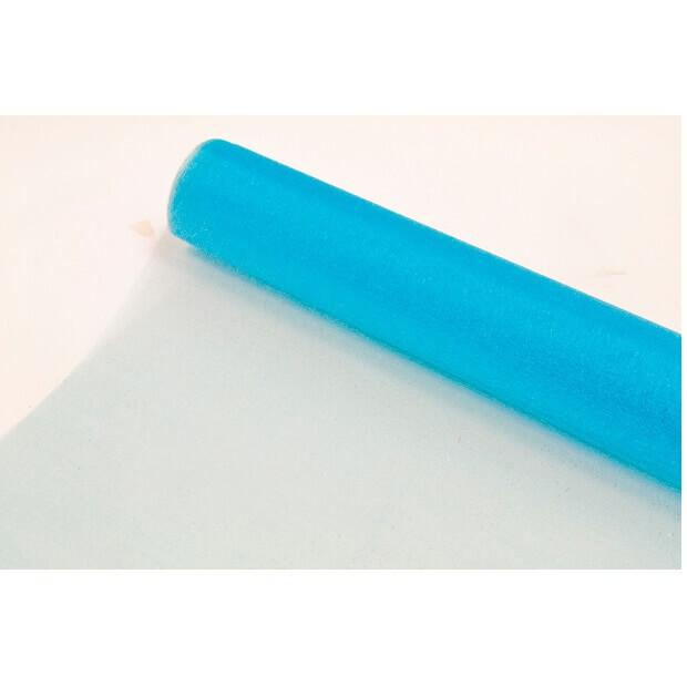 Chemin de table organdi brillant bleu turquoise