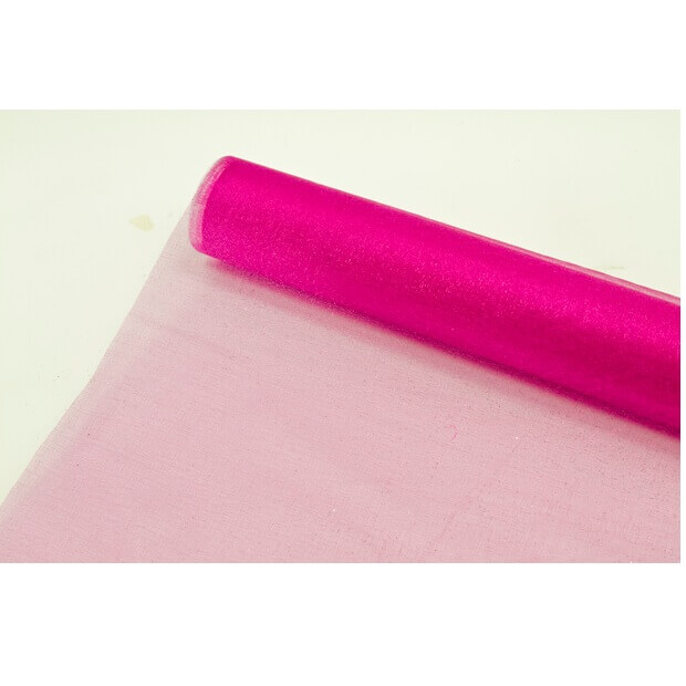 Chemin de table organdi brillant fuchsia
