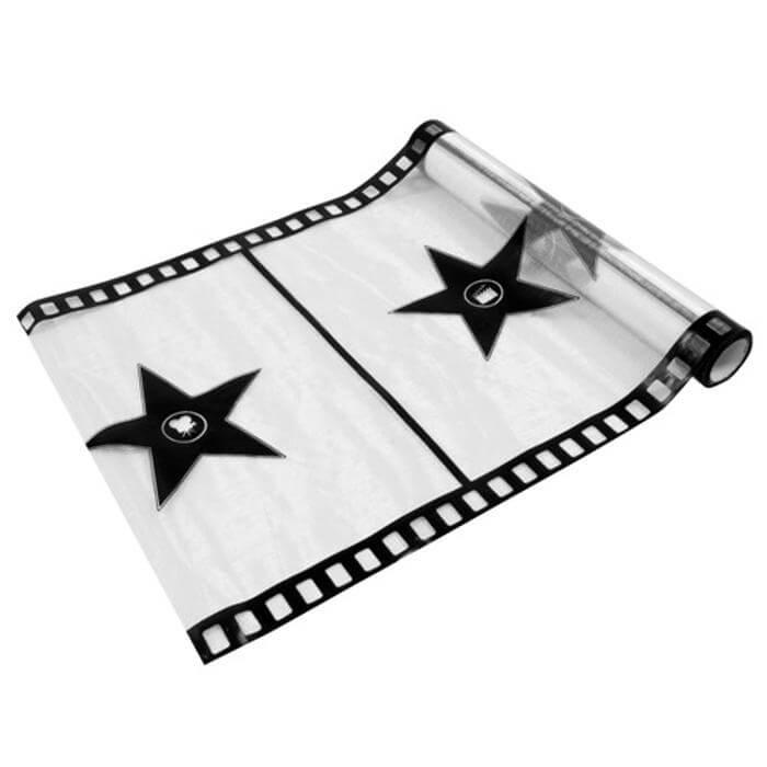 Chemin de table organdi cinema blanc et noir