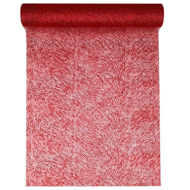 Chemin de table organdi paillete rouge