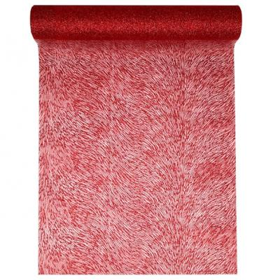 Chemin de table vague pailleté rouge (x1) REF/5076