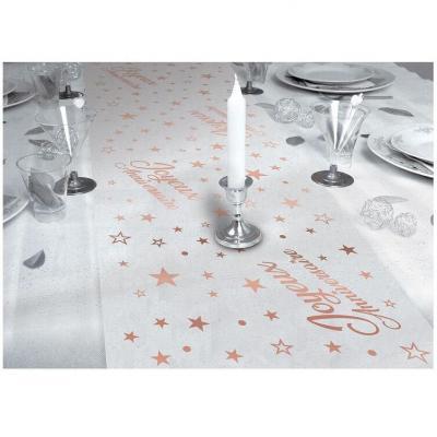 Chemin de table transparent joyeux anniversaire rose gold métal 28cm x 5m (x1) REF/CHTA00MRG