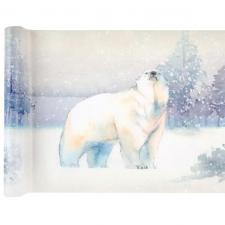 Chemin de table ours polaire blanc 30cm x 5m (x1) REF/6975