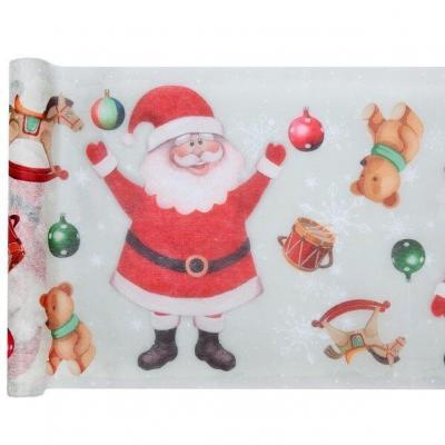 Chemin de table père Noël blanc et rouge 30cm x 5m (x1) REF/7156