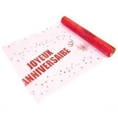 Chemin de table anniversaire rouge 29cm x 5m (x1) REF/ORG642