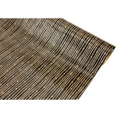 Chemin de table satin pailleté noir et or (x1) REF/CH502