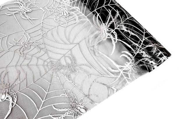 Chemin de table toile d araignee noir