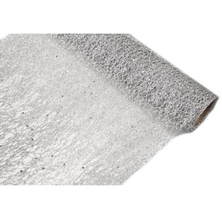 Chemin de table tulle argent metallique