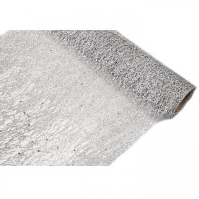 Chemin de table tulle métallisé argent 28cm x 5m (x1) REF/TUN215