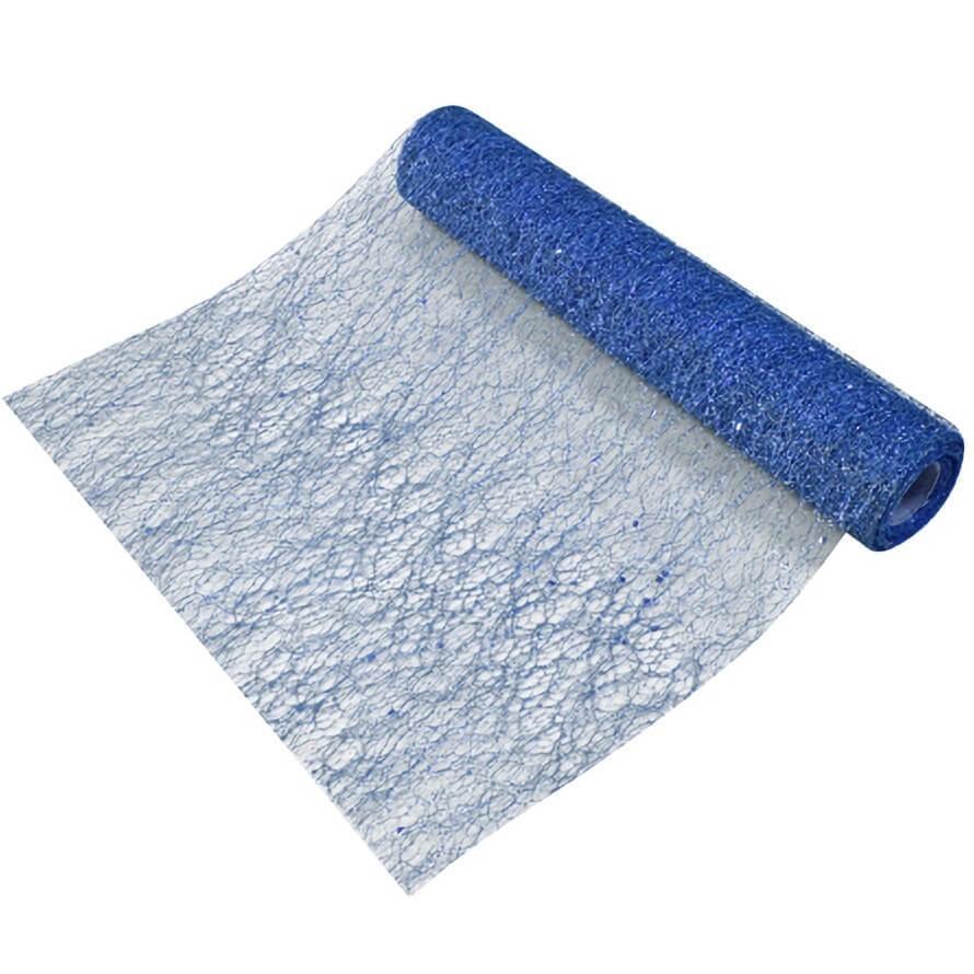 Chemin de table tulle bleu marine paillete