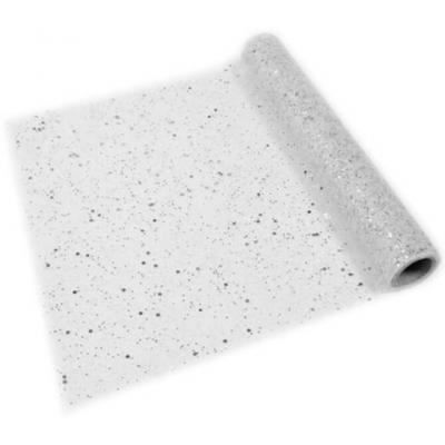 Chemin de table argent tulle pailleté 28cm x 5m (x1) REF/CT104