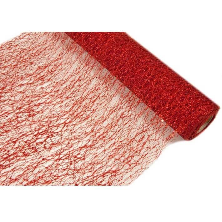 Chemin de table tulle rouge metallique