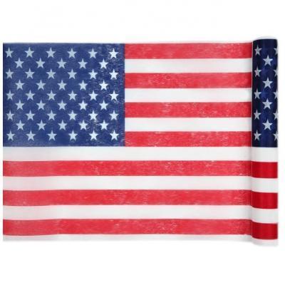 Chemin de table Amérique avec drapeau USA 5m x 30cm (x1) REF/4846